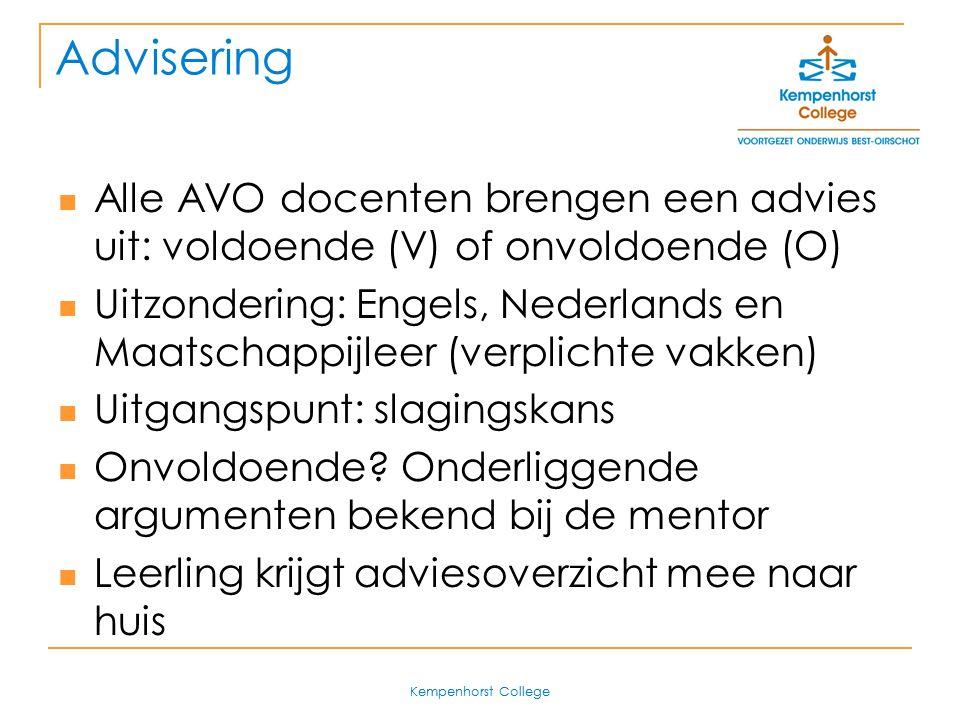 Advisering Alle AVO docenten brengen een advies uit: voldoende (V) of onvoldoende (O)
