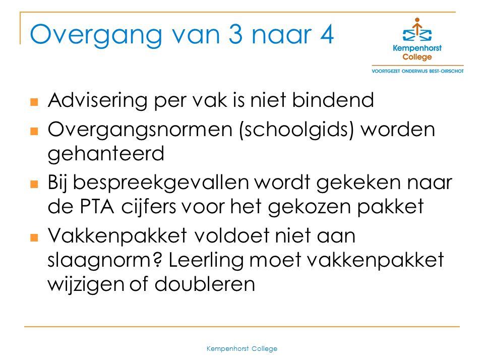 Overgang van 3 naar 4 Advisering per vak is niet bindend
