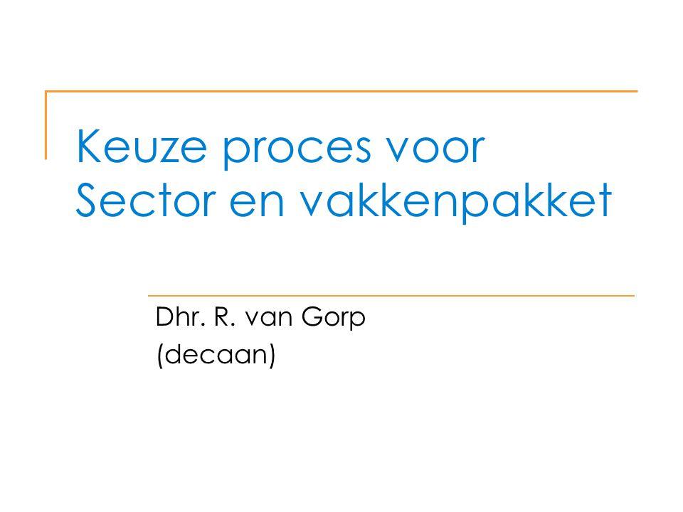 Keuze proces voor Sector en vakkenpakket
