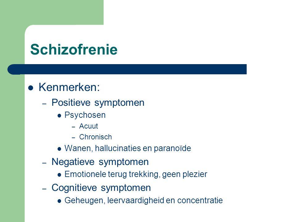 Schizofrenie Kenmerken: Positieve symptomen Negatieve symptomen