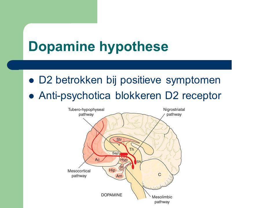 Dopamine hypothese D2 betrokken bij positieve symptomen