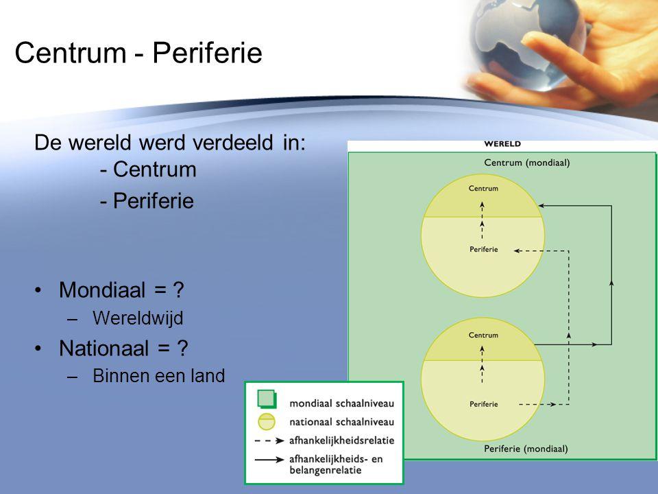 Centrum - Periferie De wereld werd verdeeld in: - Centrum - Periferie
