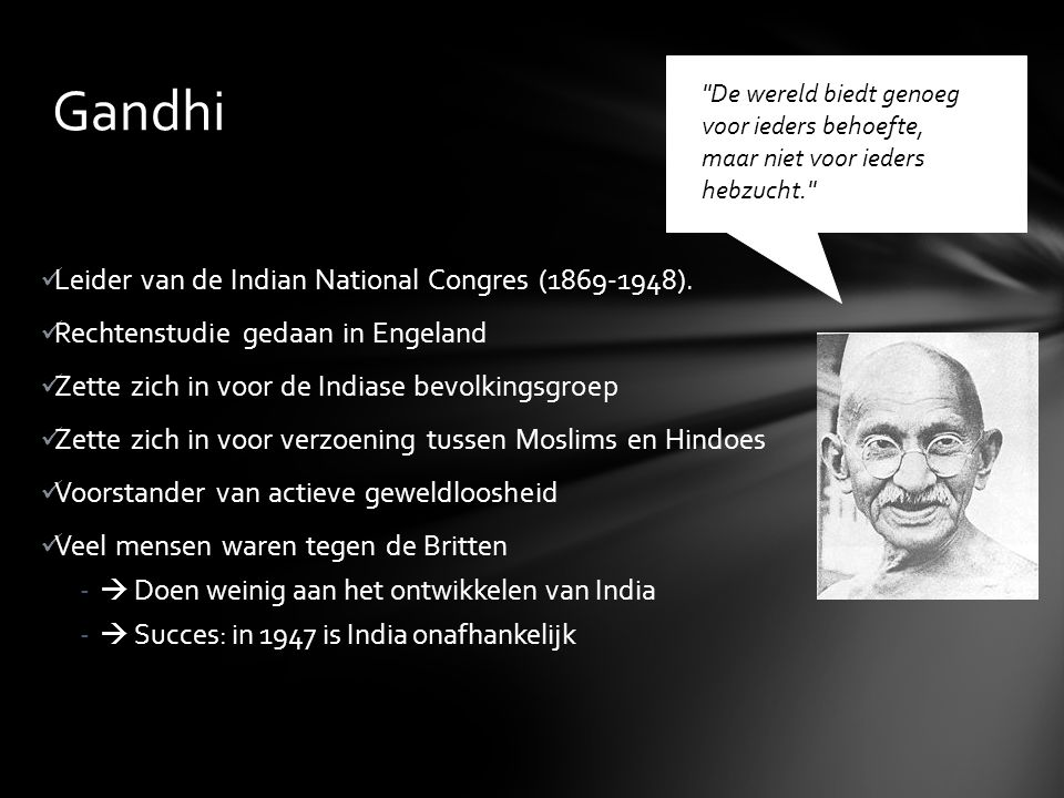 Gandhi Leider van de Indian National Congres (1869-1948).