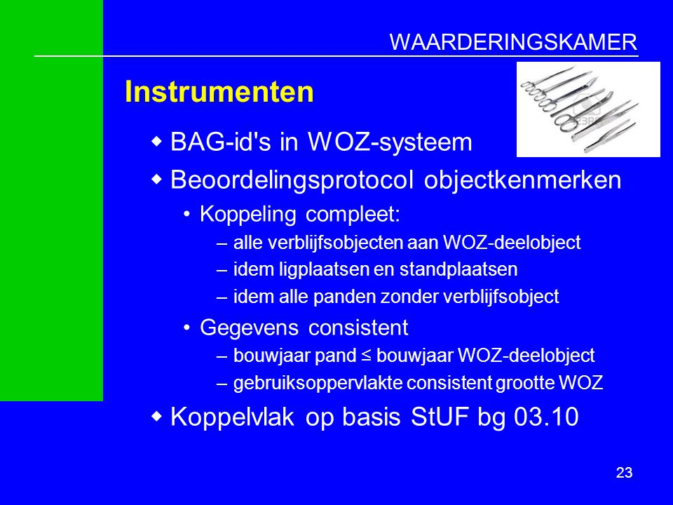 Instrumenten BAG-id s in WOZ-systeem