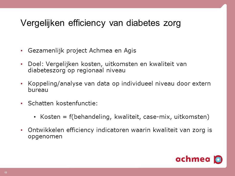 Vergelijken efficiency van diabetes zorg