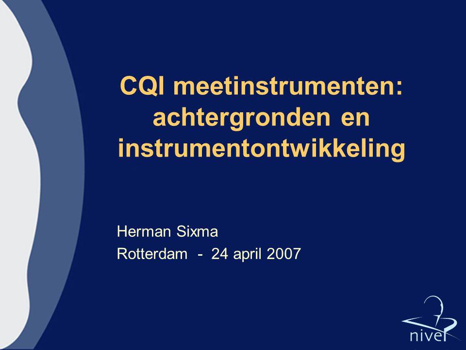 CQI meetinstrumenten: achtergronden en instrumentontwikkeling
