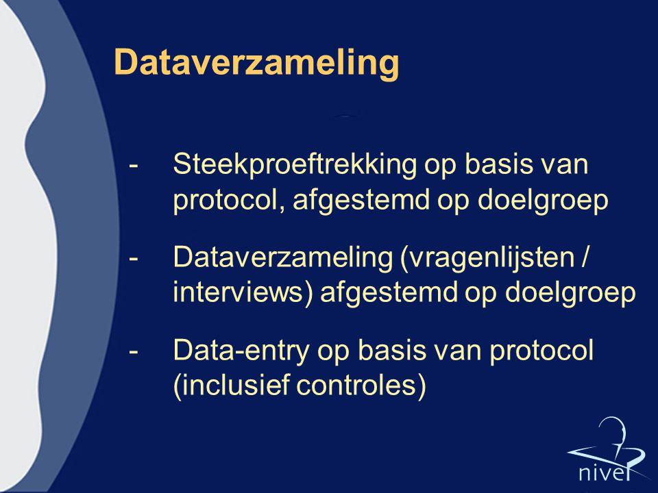 Dataverzameling Steekproeftrekking op basis van protocol, afgestemd op doelgroep.