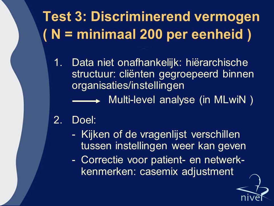 Test 3: Discriminerend vermogen ( N = minimaal 200 per eenheid )