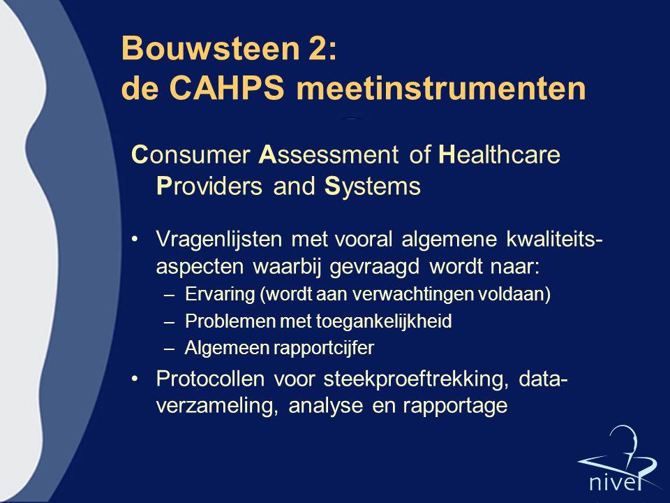 Bouwsteen 2: de CAHPS meetinstrumenten