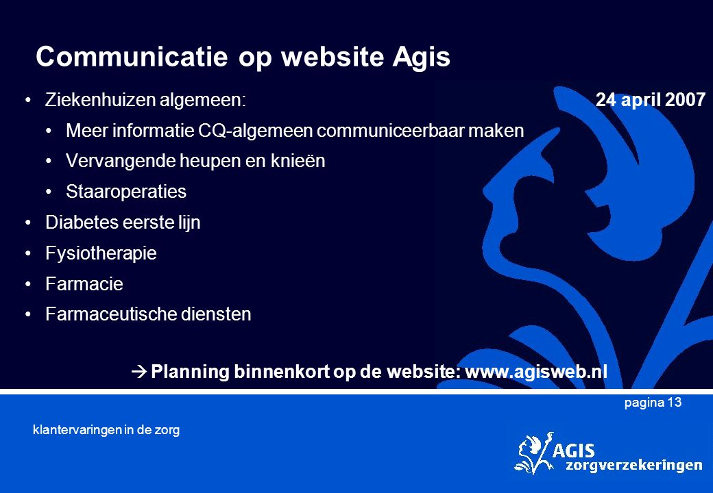 Communicatie op website Agis