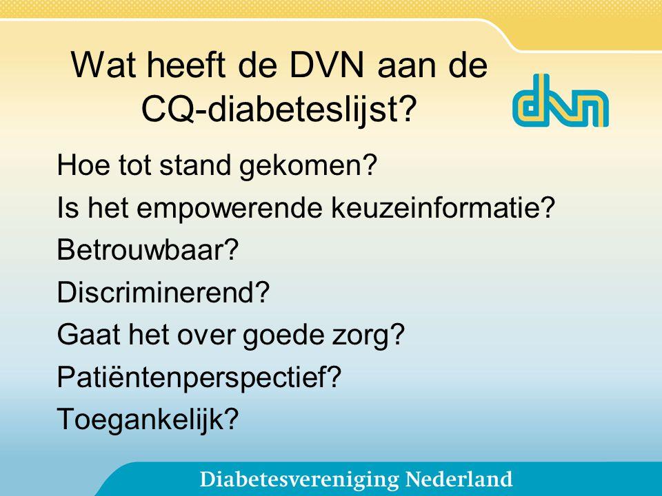 Wat heeft de DVN aan de CQ-diabeteslijst