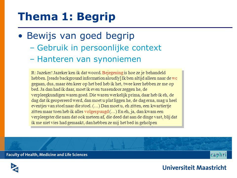 Thema 1: Begrip Bewijs van goed begrip Gebruik in persoonlijke context