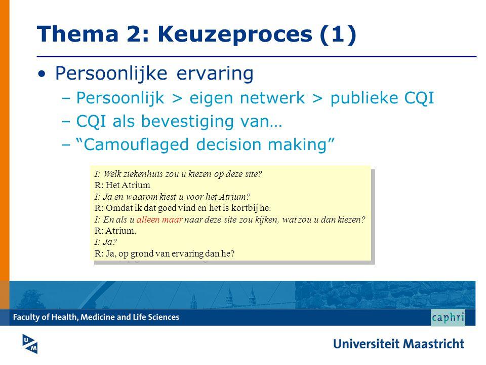 Thema 2: Keuzeproces (1) Persoonlijke ervaring
