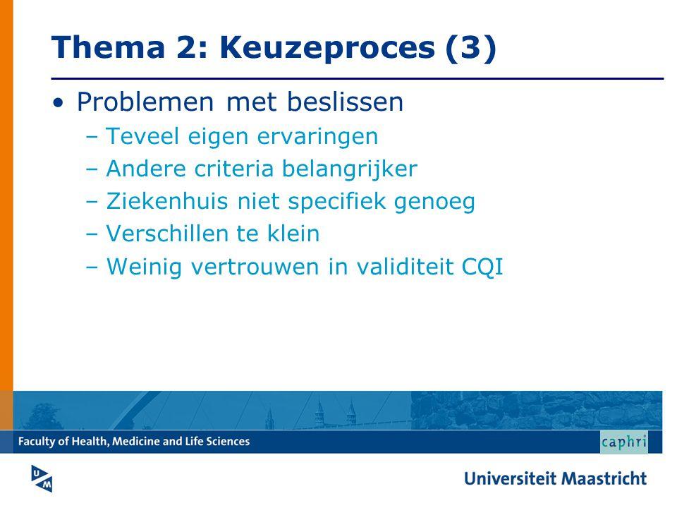 Thema 2: Keuzeproces (3) Problemen met beslissen