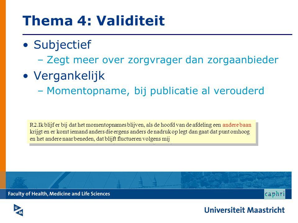 Thema 4: Validiteit Subjectief Vergankelijk