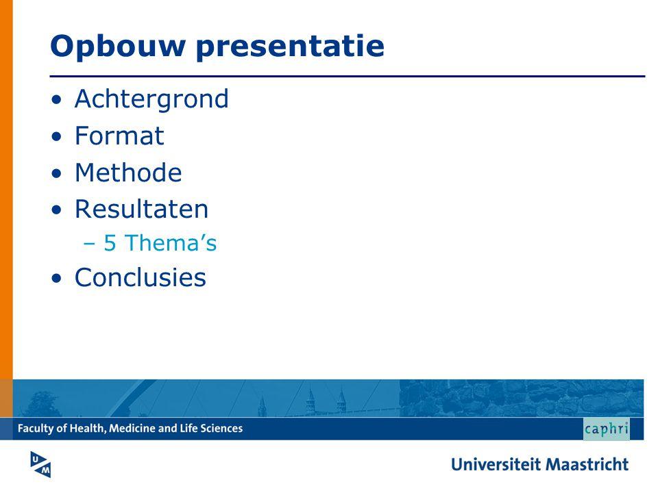 Opbouw presentatie Achtergrond Format Methode Resultaten Conclusies
