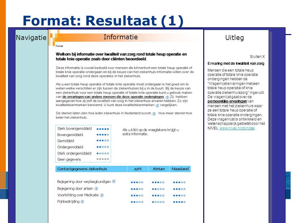 Format: Resultaat (1) Navigatie Informatie Uitleg Sluiten X