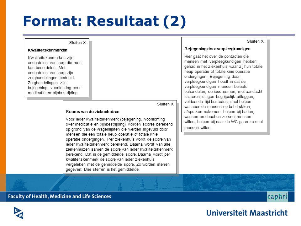 Format: Resultaat (2) Sluiten X Sluiten X