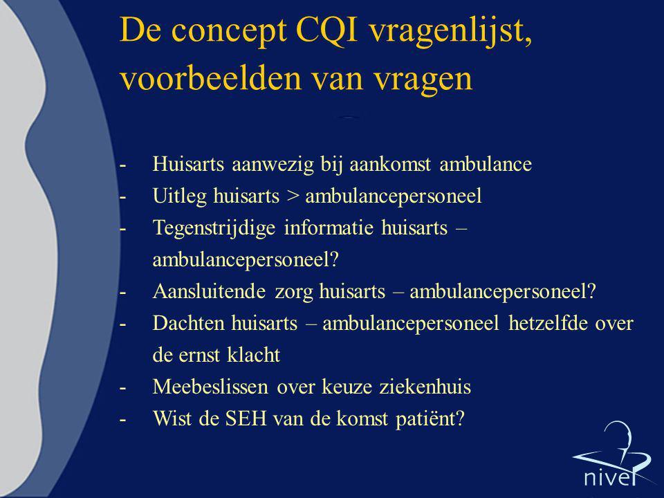 De concept CQI vragenlijst, voorbeelden van vragen