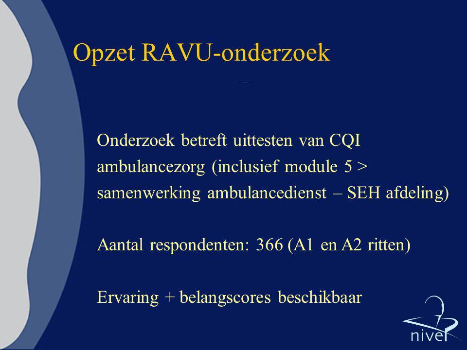 Opzet RAVU-onderzoek Onderzoek betreft uittesten van CQI ambulancezorg (inclusief module 5 > samenwerking ambulancedienst – SEH afdeling)