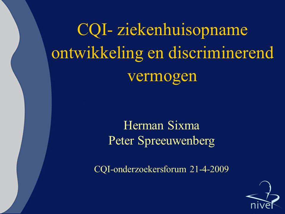 CQI- ziekenhuisopname ontwikkeling en discriminerend vermogen