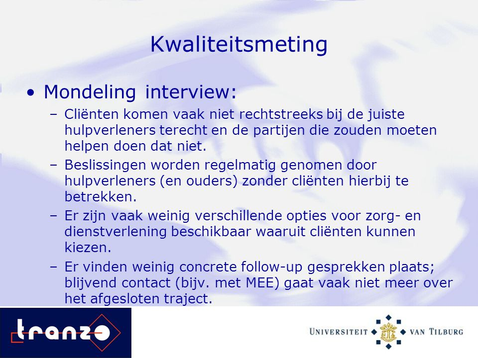 Kwaliteitsmeting Mondeling interview: