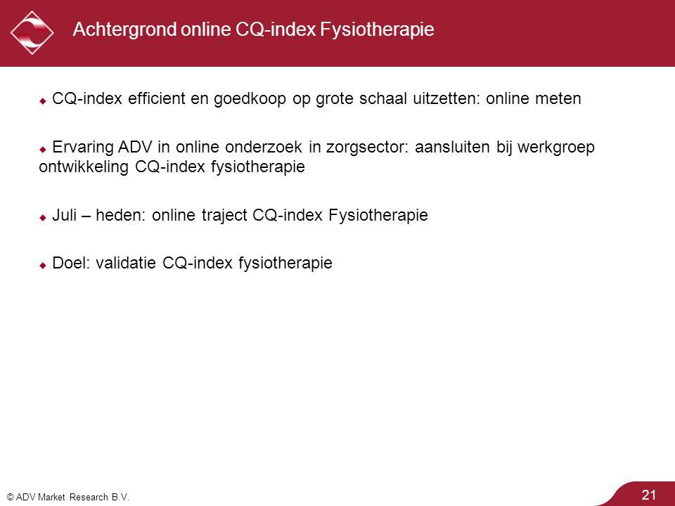 Achtergrond online CQ-index Fysiotherapie