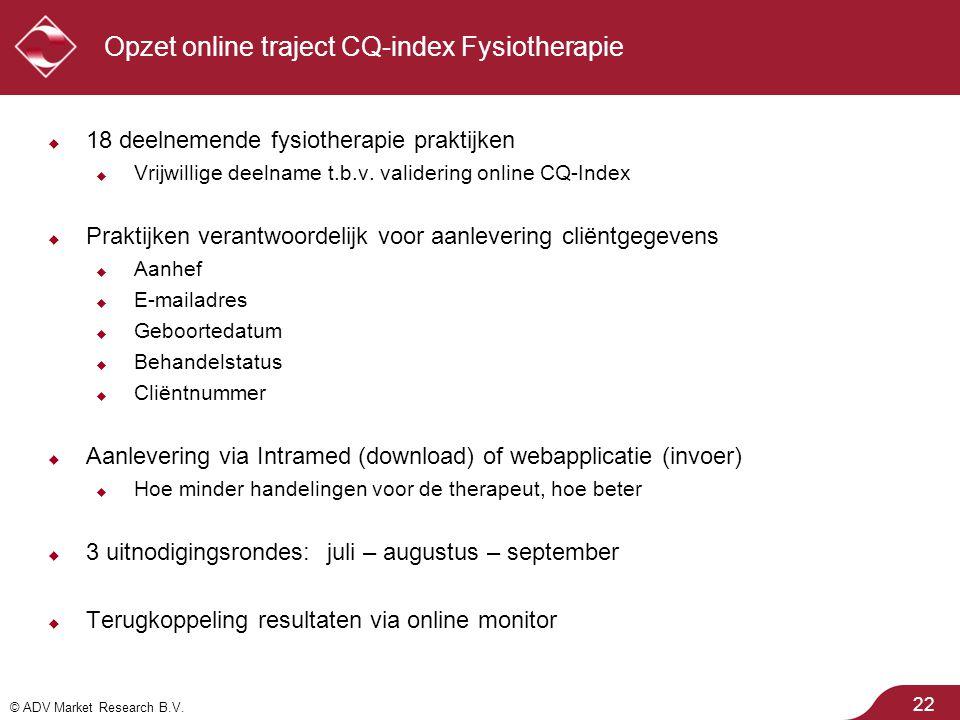 Opzet online traject CQ-index Fysiotherapie