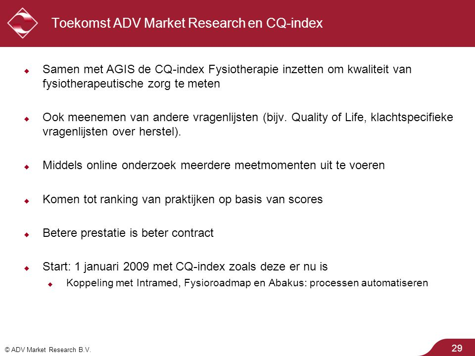 Toekomst ADV Market Research en CQ-index