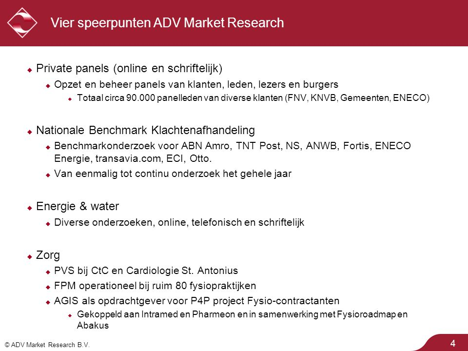 Vier speerpunten ADV Market Research
