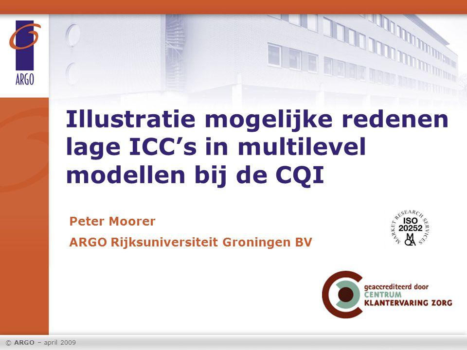 Illustratie mogelijke redenen lage ICC's in multilevel modellen bij de CQI