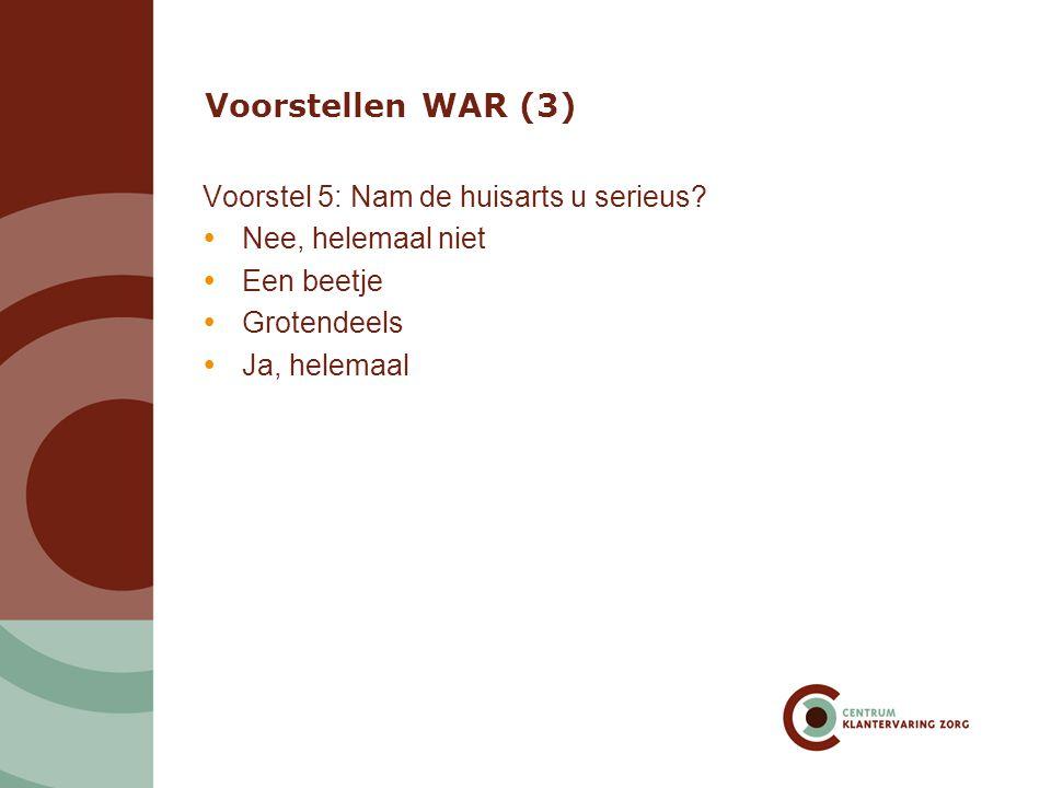 Voorstellen WAR (3) Voorstel 5: Nam de huisarts u serieus