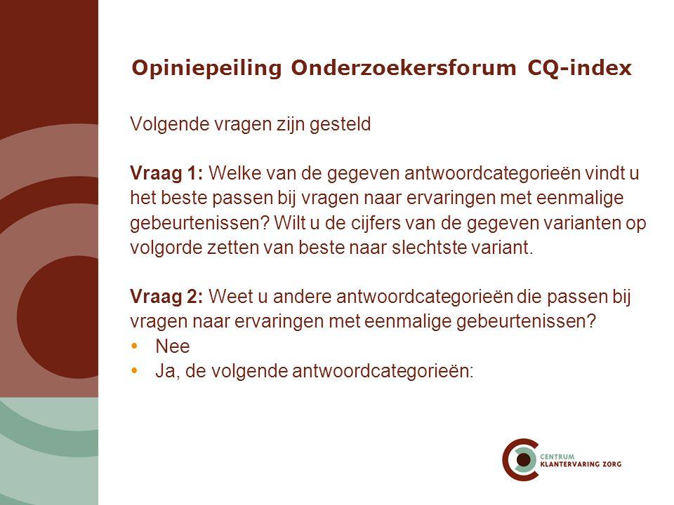 Opiniepeiling Onderzoekersforum CQ-index
