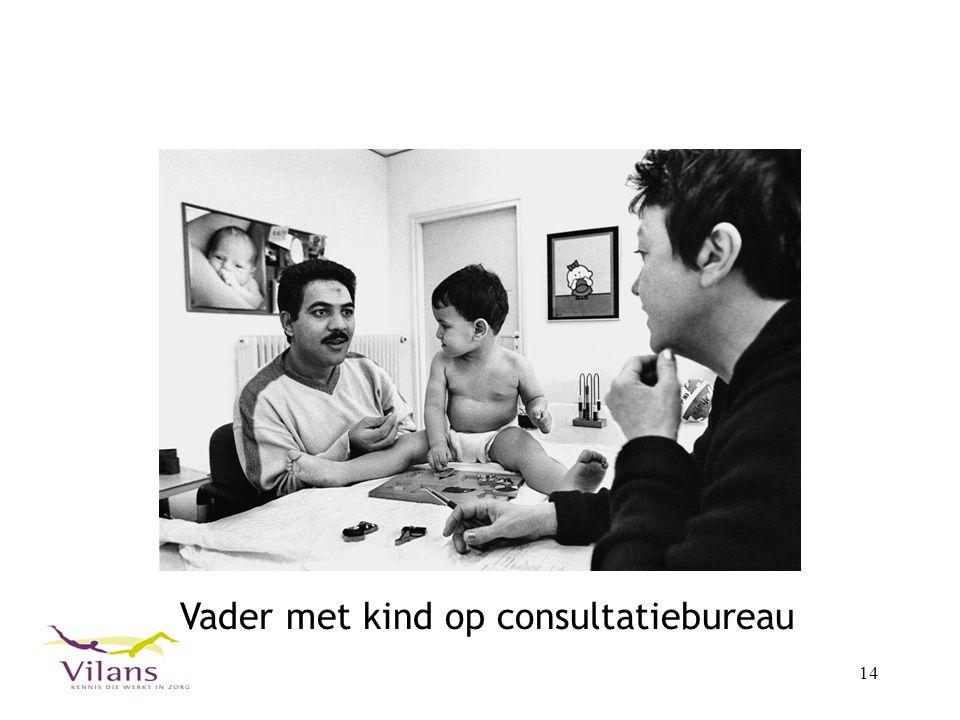 Vader met kind op consultatiebureau