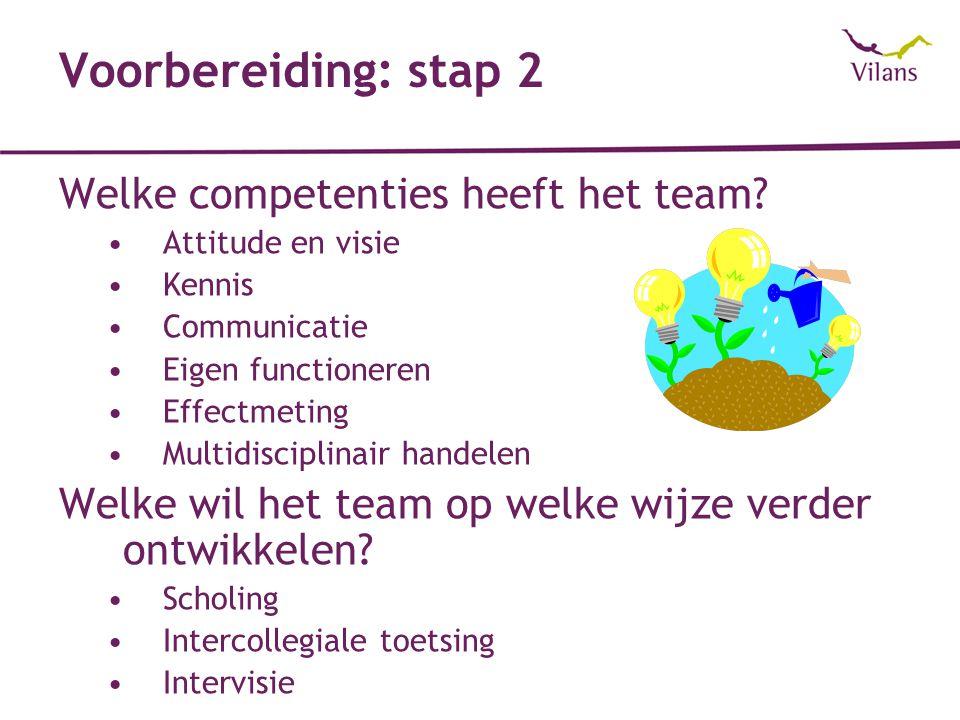 Voorbereiding: stap 2 Welke competenties heeft het team