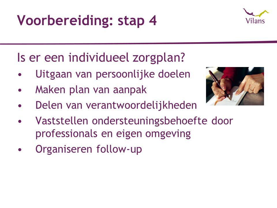 Voorbereiding: stap 4 Is er een individueel zorgplan
