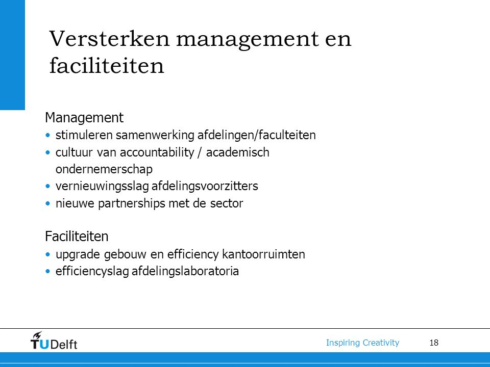 Versterken management en faciliteiten