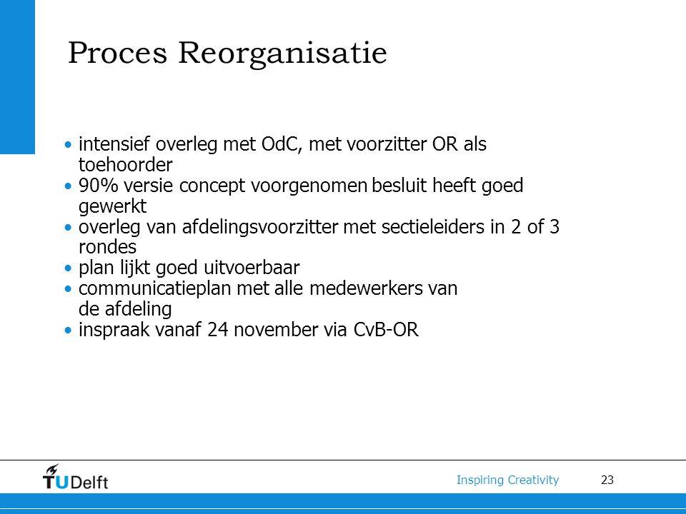 Proces Reorganisatie intensief overleg met OdC, met voorzitter OR als toehoorder. 90% versie concept voorgenomen besluit heeft goed gewerkt.