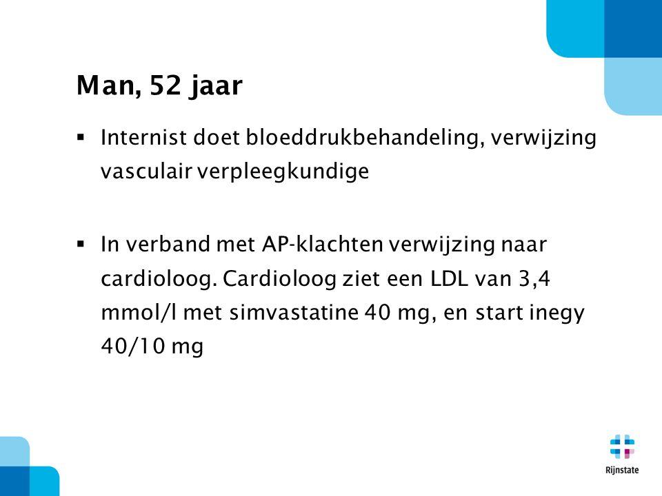 Man, 52 jaar Internist doet bloeddrukbehandeling, verwijzing vasculair verpleegkundige.