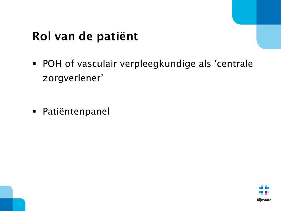 Rol van de patiënt POH of vasculair verpleegkundige als 'centrale zorgverlener' Patiëntenpanel