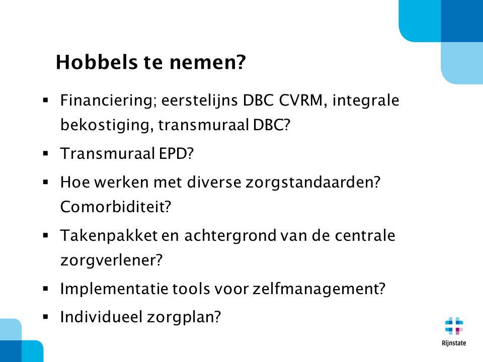 Hobbels te nemen Financiering; eerstelijns DBC CVRM, integrale bekostiging, transmuraal DBC Transmuraal EPD