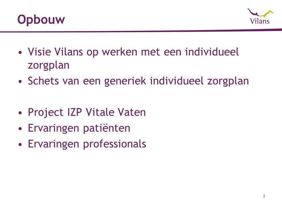 Opbouw Visie Vilans op werken met een individueel zorgplan