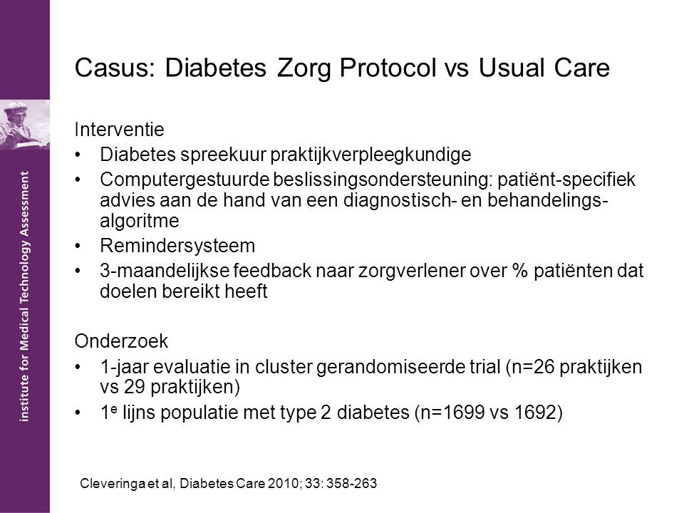 Casus: Diabetes Zorg Protocol vs Usual Care