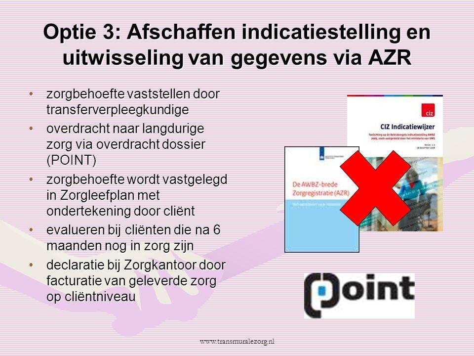 Optie 3: Afschaffen indicatiestelling en uitwisseling van gegevens via AZR