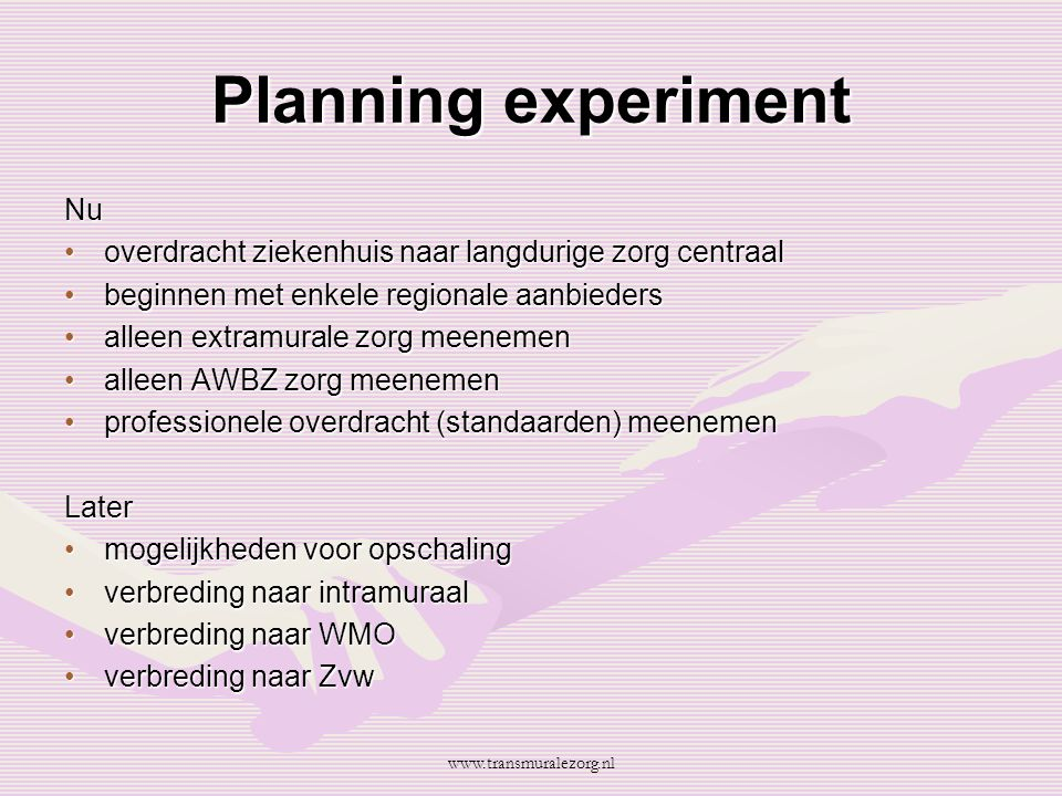 Planning experiment Nu