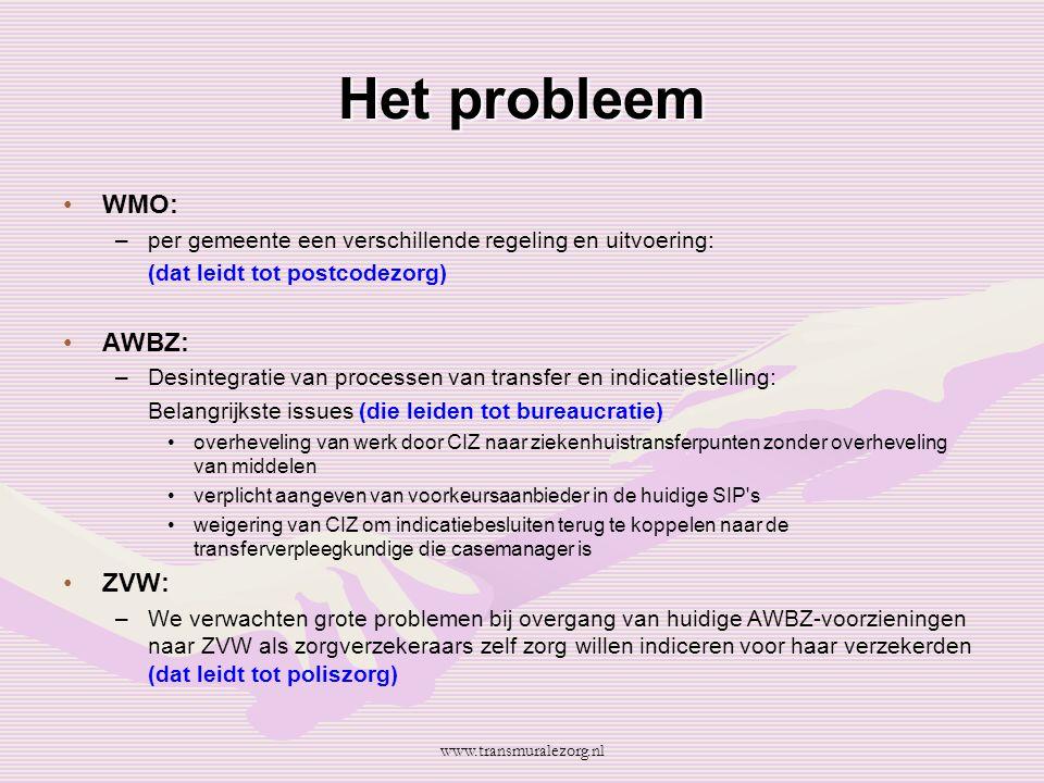 Het probleem WMO: AWBZ: ZVW: