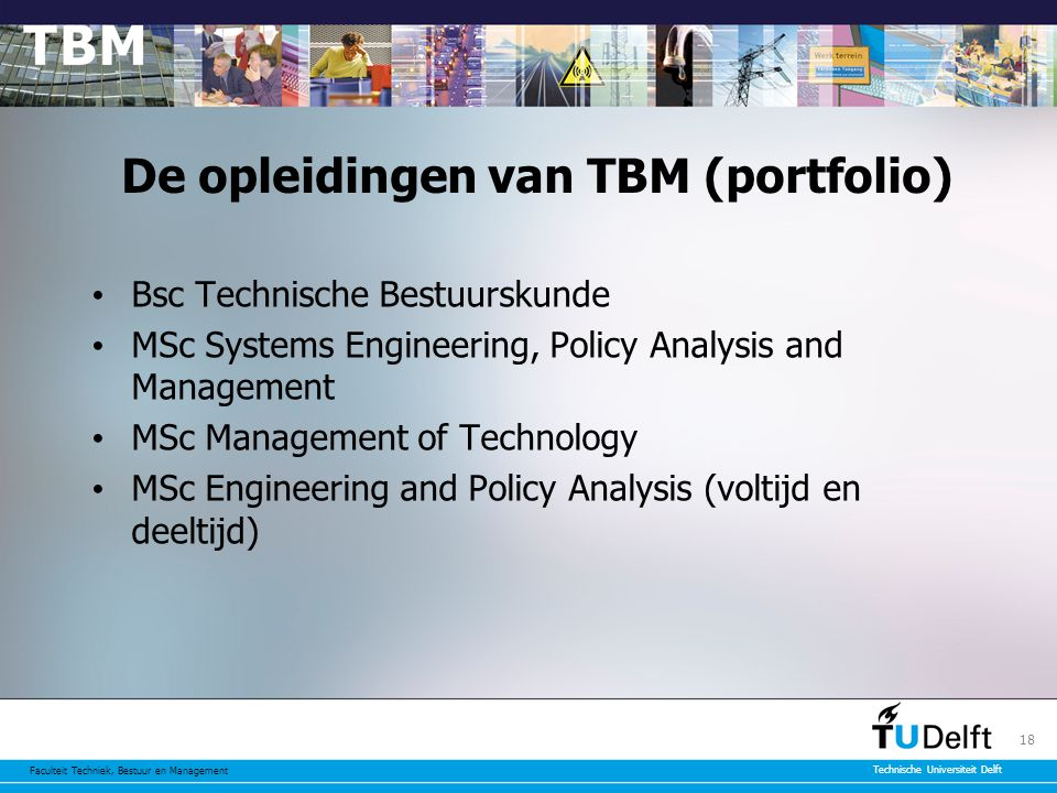 De opleidingen van TBM (portfolio)