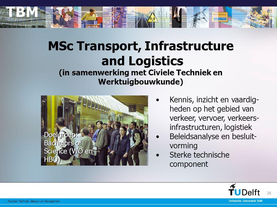MSc Transport, Infrastructure and Logistics (in samenwerking met Civiele Techniek en Werktuigbouwkunde)