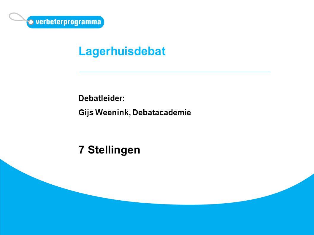 Lagerhuisdebat Debatleider: Gijs Weenink, Debatacademie 7 Stellingen