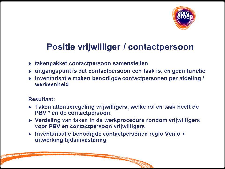Positie vrijwilliger / contactpersoon